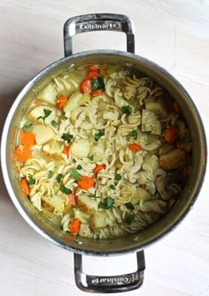 Used all vegetable stock. Did not use pasta and it was great! Skip the fresh parsley. Classic Vegan Noodle Soup