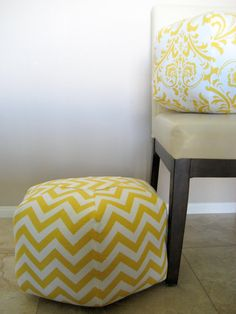 "18"" Ottoman Pouf Floor Pillow Yellow Chevron Zig Zag. $85.00, via Etsy."