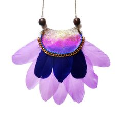 Purple Feather Statement Necklace Half Circle by BooandBooFactory, $158.00