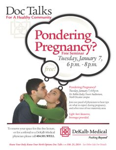 Pondering #pregnancy? Considering #conceiving? #Baby maybe? Join us for our #free physician panel discussion to hear tips on what to expect during pregnancy. Tour our #maternity area. To reserve your space or find a doctor call 404.501.WELL(9355) $0.01