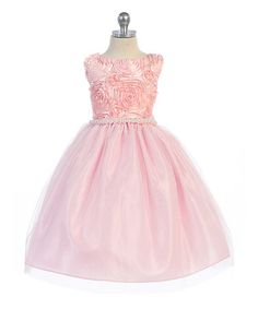 Look what I found on #zulily! Peach & Pink Floral Pearl Tulle A-Line Dress - Kids & Tween #zulilyfinds