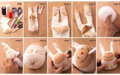 Stuffed Sock Animal Toys DIY Craft Project: would be cute made out of rainbow socks or some socks with lots of pattern or colors!