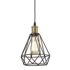 YOBO Lighting Vintage Oil Rubbed Bronze Polygon Wire Pendant Light Art Deco: br Base Type: br Light Source: LED Bulbs or Incandescence br Shade Type: wire cage br NOTE: Light Source NOT included Farmhouse Light Fixtures, Farmhouse Lighting, Kitchen Lighting, Plug In Pendant Light, Lantern Pendant, Pendant Lighting, Pendant Lamp, Black Pendant Light, Attic Renovation