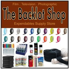 """""""The Backlot Shop"""" - Expendables Supply Store for Film, Television & Photographic needs!! Tapes, Gels, Duvetyn, Cheesecloths, Black Wrap, Sprays, Lubricants, Super 77, Cleaning supplies, Clamps, flyaway sandbags, and much more! #expendables #expendablesstore #backlot #Production #ShortFilm #FeatureFilm #Commercial #Cinematography #Lighting #Grip #Camera #OnSet #glassandgear"""