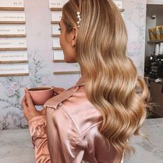 Gorgeous wavy hair pinned back with white clip Formal Hairstyles, Bride Hairstyles, Down Hairstyles, Wavy Hair, Blonde Hair, Blonde Waves, Wavy Bridal Hair, Hair Updo, Wedding Hair And Makeup