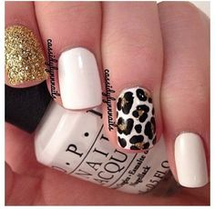 White Leopard Print Nails with Sparkles