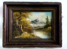 Vintage Old picture Art Hand Painted Oil Painting Landscape Trees River Iceberg | eBay