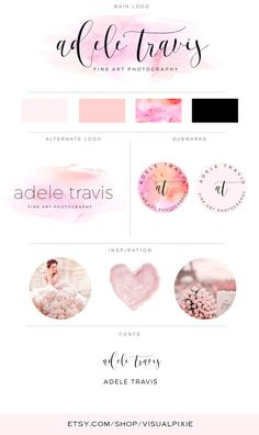 Branding Package - Photography Logo Makeup Artist Logo - Orange Pink Watercolor Logo Event Planner Logo Fashion Blog Boutique Business Logo