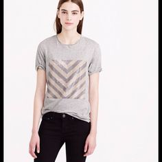 HPsequin chevron T-Shirt Brand new! Tee pictured is not one you will receive. You will receive brand new, never worn! Color is Heather grey. Bust 37.5, waist 30, cotton.  trades! J. Crew Tops Tees - Short Sleeve