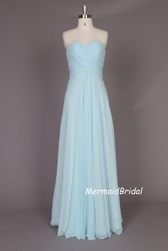 781648c876 Simple light blue Chiffon Long prom dress