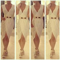 White Togo Wrap Aeound Gold Belt Dress