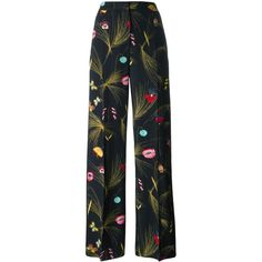 Fendi floral print trousers ($1,795) ❤ liked on Polyvore featuring pants, trousers, fendi, bottoms, black, wide leg trousers, floral wide leg pants, high rise pants, patterned pants and high waisted striped pants