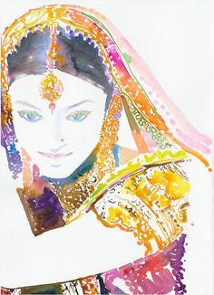 Red Pink - colorful wall art watercolor prints paintings modern bohemian home room decor Indian girl women in saris Rajasthan- silverridgestudio etsy 04