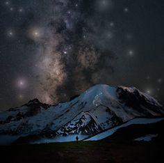 "earthunboxed: ""Milky Way over Mt. Rainer, Washington | by astroculv """