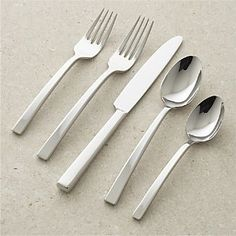 Earn back in rewards with the Crate & Barrel credit card. Find a nearly endless variety of silverware sets and flatware patterns from Crate & Barrel. Modern Flatware, Gold Flatware, Flatware Set, Cutlery, Crate And Barrel, Silverware Place Setting, Silverware Sets, Stainless Steel Flatware, Place Settings