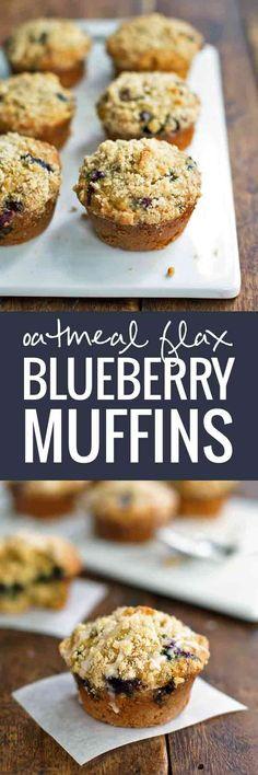 Oatmeal Flax Blueberry Muffins - Crumbly goodness | pinchofyum.com