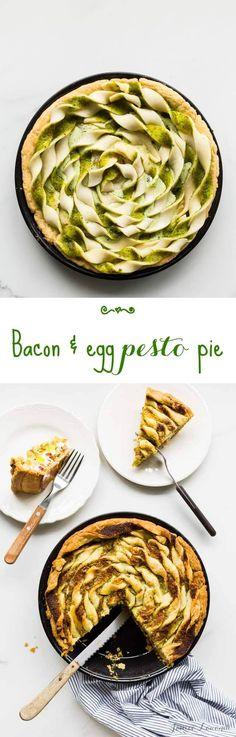 Bacon and egg pesto pie with ramp pesto (also known as wild garlic pesto)