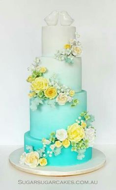 Ombre wedding cake in white and teal with yellow and white flowers, only need two tiers Teal Cake, Ombre Cake, Blue Cakes, Gorgeous Cakes, Pretty Cakes, Cupcakes, Cupcake Cakes, Sugar Cake, Sugar Sugar