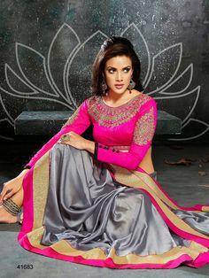 #Designer Sarees#Grey & Pink #Indian Wear #Desi Fashion#Natasha Couture#Indian Ethnic Wear