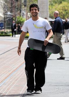 'Dancing with the Stars' professional dancer Mark Ballas shopping for a new skateboard at a sports store in Hollywood