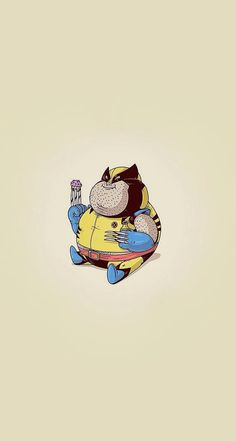 Fat Wolverine #superheroes iPhone wallpaper - @mobile9 Iphone Wallpaper Unicorn, Funny Iphone Wallpaper, Cartoon Wallpaper, Cute Illustration, Character Illustration, Fat Character, Wolverine Cosplay, Unicorn Island, Apple Watch Wallpaper