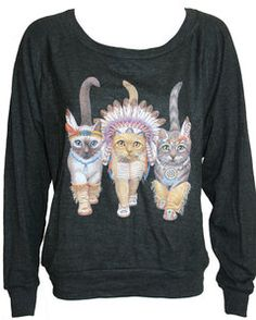 "Three Native Kitty Cats Pullover Slouchy ""Sweatshirt""  Top American Apparel Black L"