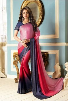 Pink Embroidered Crepe Saree With Blouse - The Fashion Attire - 2901533 Crepe Saree, Latest Sarees, Pink Parties, Pink Saree, Party Wear Sarees, Saree Blouse, Fabric Design, Fancy, Clothes For Women