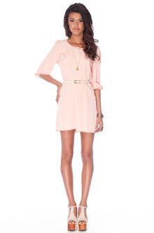 Tobi belted peach dress