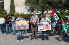 "Motorcycle riders organized ""Nakba Day"" ride to support the people of Palestine and political prisoners in prisons of Israel who are on hunger strike since April Hunger Strike, Political Prisoners, Palestine, Israel, Baby Strollers, Greece, Motorcycle, People, Baby Prams"