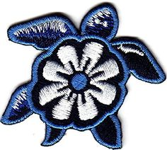 "[Single Count] Custom and Unique (1 3/4"" x 1 3/4"") Flower Shell Sea Turtle Iron On Embroidered Applique Patch {Blue, Black and White Colors} myLife Brand Products http://www.amazon.com/dp/B011JCP002/ref=cm_sw_r_pi_dp_Y6APvb0QXYYE9"