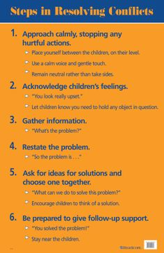 A handy reference tool! Hang this poster in your classroom to help you remember these six steps to successfully resolving conflicts as you work with children.