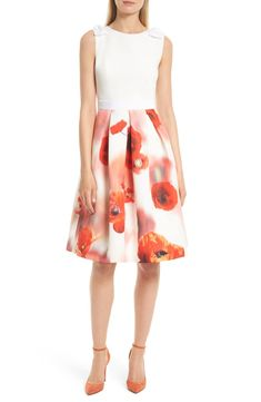 Free shipping and returns on Ted Baker London Micla Playful Poppy Bow Dress at Nordstrom.com. A charming and flattering dress pairs a pale fitted bodice and a pleat-flared midi skirt cast in a bold poppy print. Grosgrain bows at each shoulder cap off the utterly feminine design.