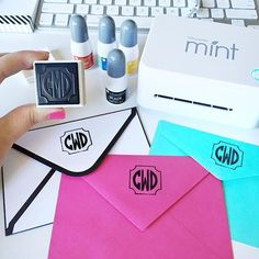 Custom Monogram Stamp using the Silhouette Mint! Stamp envelopes, stamp stationery, stamp ribbon, stamp wrapping paper, the possibilities are endless for monogram lovers!