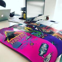 Working late on a Friday not a bad place to be!! . . . . @nickjwarman @oscarputdowntheknife #natas #nataskitten #santamonicaairlines #reissue #oldschoolskateboards #supereight #skateboarding #1980s #goldeneraofskateboarding