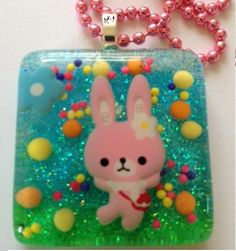 Resin Cute Kawaii Pink Bunny Glitter Pendant by KawaiiWhimsy, $23.00