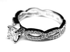 Vintage Round Diamond Infinity Swirl Engagement Ring