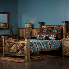 The Antler & Barnwood Bed comes complete with headboard, foot board, side rails and center slats. This weathered wood bed with antler accents gives a strong rustic presence to any bedroom.