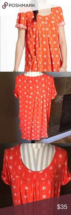 Holding Horses Orange Tunic Such a cute top and Perfect with skinnies and booties! Has pockets and is made of rayon so drapes and flows perfectly! In excellent condition! Smoke free home and I ship quickly! Anthropologie Tops Tunics