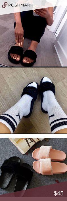 🖤 Black fur slides Brand-new. Black fur slides. Size 6. Fake fur artificial. Super cute super comfortable trendy hipster sandals. NOT PUMA BRAND. Purchased from Tillys Puma Shoes Sandals