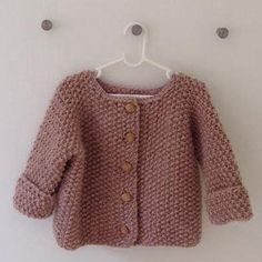 Baby – Children sweater – hand knitted from pure soft and eco-certificated wool – Danish knitter – FruStrik – pearl knit with wooden buttons – Hand Knitting Cardigan Bebe, Knitted Baby Cardigan, Knitted Baby Clothes, Hand Knitted Sweaters, Sweater Knitting Patterns, Baby Sweaters, Diy Crafts Knitting, Knitting For Kids, Knitting For Beginners
