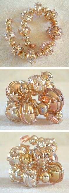 """Janet's Beads 1 16"""" Gold Double Helix Polywogs Lampwork Glass Beads Isgb SRA 
