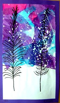 Glue on pink, purple, blue tissue above horizon line on white paper, add trees i… – Winter Craftsy Bloğ Christmas Art Projects, Winter Art Projects, School Art Projects, Doodle Drawing, Girl Faces, Tissue Paper Art, Photography Beach, 2nd Grade Art, Atelier D Art