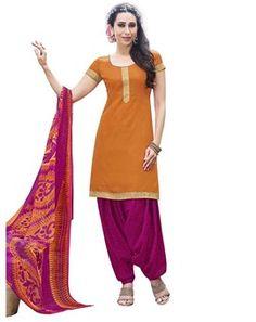 #Amazing #Orange & #Pink Colored Printed #Dress Material