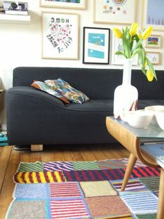 Eclectic room with colorful rug