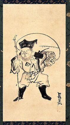 Daikokuten est la divinité japonaise de la richesse, du commerce & des échanges. Ebisu & Daikoku sont souvent appariés et représentés sous forme de masques ou de sculptures sur les murs de petites échoppes. On le représente comme un homme gras & souriant, assis ou debout sur des sacs de riz symbolisant la richesse, tenant sur son épaule un grand sac contenant la sagesse & la patience.