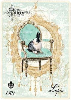 The Decorated House Etsy. Bunny Rabbit Lapin in French Chair Art Print. Copyrighted Art. http://www.etsy.com/listing/89564319/bunny-rabbit-in-french-chair-art-print