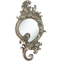 """Rosilini Silver Leaf 16 1/2"""" x 31 1/2"""" Wall Mirror ($100) found on Polyvore"""
