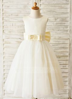 275f5a10236 Ball Gown Tea-length Flower Girl Dress - Satin Tulle Sleeveless Scoop Neck  With Sash Bow(s) V Back