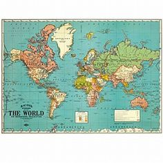 Map of the World Map from Old Postcards Art Print  Artsy