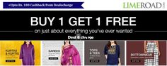 Buy 1 Get 1 Free from LIMEROAD and get upto Rs. 180 Cashback from http://dealecharge.com/